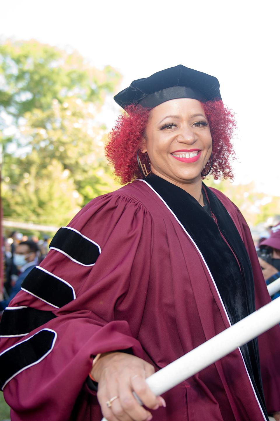 ATLANTA, GEORGIA - MAY 16: Author Nikole Hannah-Jones attends the 137th Commencement at Morehouse College on May 16, 2021 in Atlanta, Georgia. (Photo by Marcus Ingram/Getty Images)
