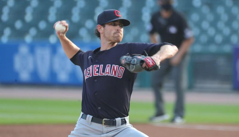 Cleveland Indians starting pitcher Shane Bieber pitches against the Detroit Tigers during the first inning at Comerica Park,Saturday, August 15, 2020.
