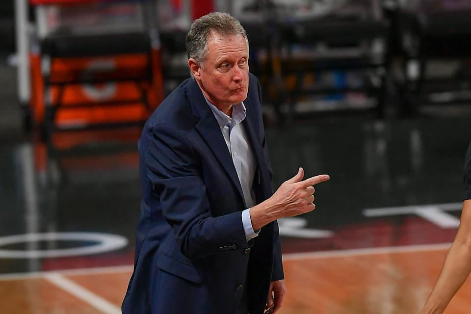 ATLANTA, GA  JUNE 13:  Atlanta interim coach Mike Petersen gestures from the sideline during the WNBA game between the Washington Mystics and the Atlanta Dream on June 13th, 2021 at Gateway Center Arena in College Park, GA. (Photo by Rich von Biberstein/Icon Sportswire via Getty Images)