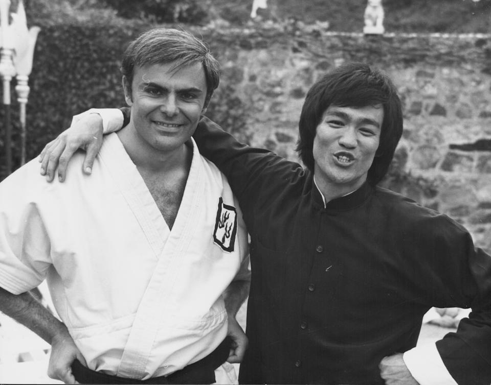 Actors Bruce Lee and John Saxon, on the set of the movie 'Enter the Dragon', 1973. (Photo by Stanley Bielecki Movie Collection/Getty Images)
