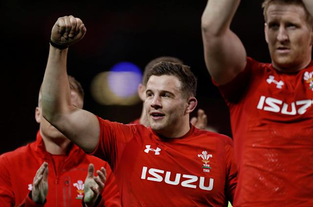 Rugby Union - Six Nations Championship - Wales vs France - Principality Stadium, Cardiff, Britain - March 17, 2018 Wales' Elliot Dee celebrates after the match Action Images via Reuters/Paul Childs