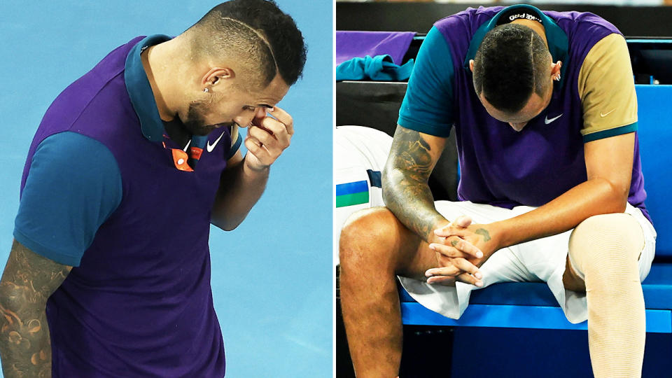 Nick Kyrgios, pictured here after his loss to Dominic Thiem at the Australian Open.