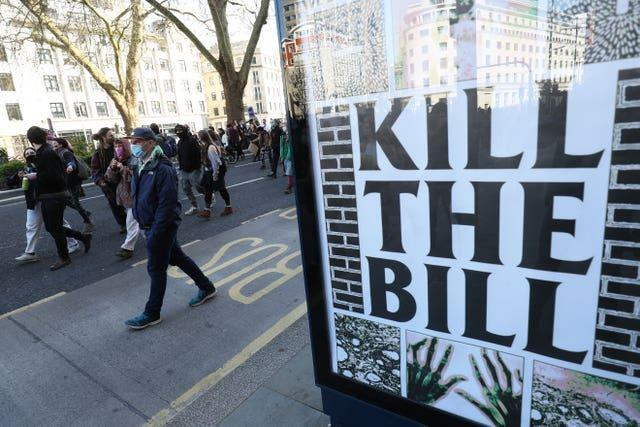Demonstrators march from College Green in Bristol during a 'Kill The Bill' protest against the Police, Crime, Sentencing and Courts Bill last month
