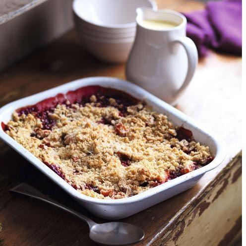 """<p>This plum and apple crumble recipe is a perfect autumnal dessert.</p><p><strong>Recipe: <a href=""""https://www.goodhousekeeping.com/uk/food/recipes/a535322/plum-and-apple-crumble/"""" rel=""""nofollow noopener"""" target=""""_blank"""" data-ylk=""""slk:Plum and Apple Crumble"""" class=""""link rapid-noclick-resp"""">Plum and Apple Crumble</a></strong></p>"""