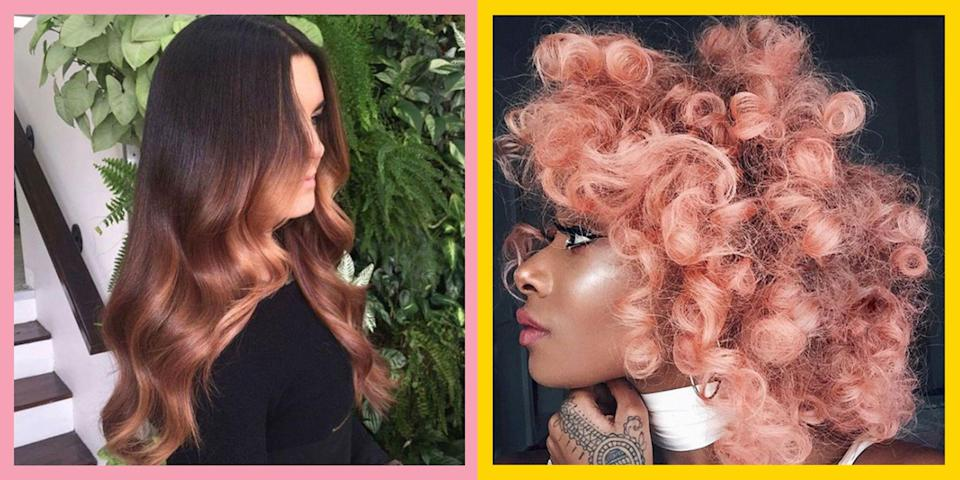 """<p>Rose gold hair has been sitting pretty at the top of our must-try colour list, and it looks like the trend is here to stay. From metallic coppery highlights to blushing ombre fades, rose gold locks are winning eeeverywhere from Instagram to Pinterest (and there are no prizes for guessing why).</p><p>Thinking of experimenting with rose gold hair? If it's a more permanent decision it's important you speak to a hair colourist to make sure your hair is in the best condition for the colour. """"Book a consultation with your hairdresser to talk through all things rose gold,"""" says <a href=""""https://www.instagram.com/gracedalgleishx/"""" rel=""""nofollow noopener"""" target=""""_blank"""" data-ylk=""""slk:Grace Dalgleish"""" class=""""link rapid-noclick-resp"""">Grace Dalgleish</a> colourist at Brooks & Brooks salon. """"It can work for everybody when done correctly but for blondes It's the perfect go-to fashion shade to glaze over your locks for a non-commitment trend, fading back to your original canvas in just weeks. The key to achieving the right shade of rose gold is mixing cool dusty pink tones with warm apricot hues, creating a beautiful metallic shimmer over the hair.""""</p><p>If you don't have blonde hair you can definitely still dive in the rose gold hair trend, but you might need to pre-lighten your hair slightly to have the colour show properly. This should be done professionally, even if you then apply the rose gold yourself at home. """"Having the right canvas underneath is where you need to see you a professional. Rose gold works great over highlights, balayage and full-head bleaches. See your hairdresser first for some pre-colour work so they can get the base of your hair to the level of lightness it needs to be, then you can simply top up the tone at home!""""</p><p>We trawled the internet to bring you 35 of the dreamiest rosy hair hues out there, from <a href=""""https://www.instagram.com/p/BNZFGb2h0Ib/"""" rel=""""nofollow noopener"""" target=""""_blank"""" data-ylk=""""slk:Nyané's incredible neon rose"""" class=""""lin"""