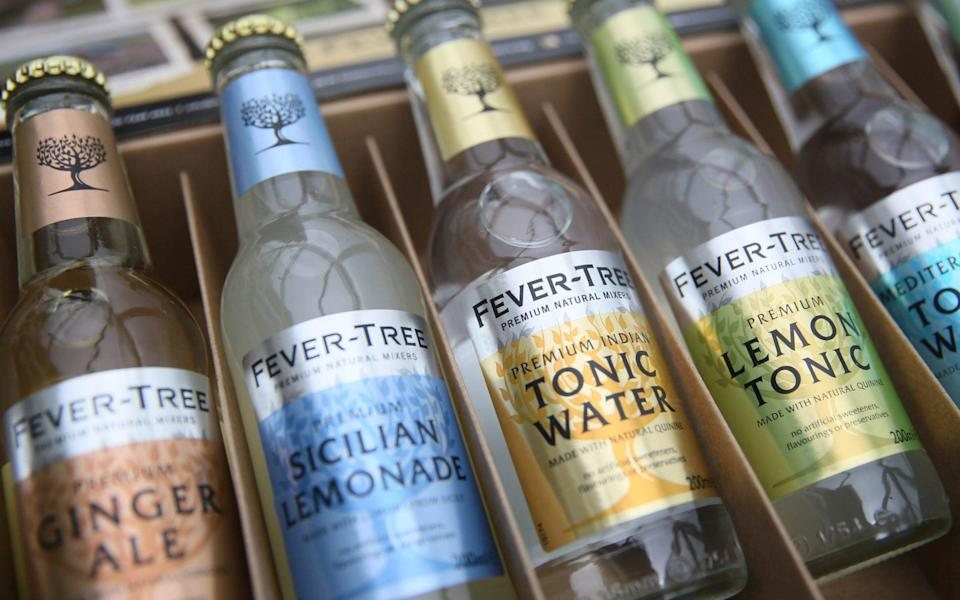 Products from the drinks company Fever Tree are displayed in London - Neil Hall/Reuters