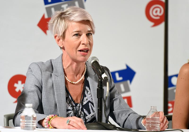 Katie Hopkins, who was removed from Twitter for breaching the platform's rules on hate speech. (Photo: Joshua Blanchard via Getty Images)