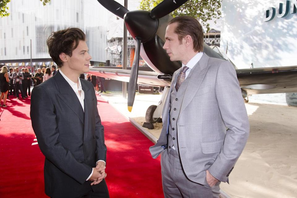 <p>Harry Styles catching up with James D'Arcy (WB) </p>