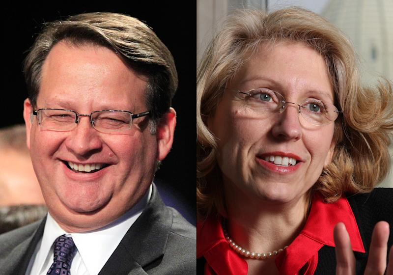 This combination of undated file photos shows U.S. Senate candidates Michigan Democratic Rep. Gary Peters, left, and former two-term GOP Michigan Secretary of State Terri Lynn Land. Thanks to the fiasco that followed the launch of President Barack Obama's signature health care law, Democrats are now bracing for hard-fought Senate races in states they hoped to win with ease just two months ago. Weeks of technical problems with the health insurance enrollment website combined with anxiety over insurance cancellations for millions have erased early advantages enjoyed by Democratic candidates Peters in Michigan and Mark Udall in Colorado. (AP Photo/File)