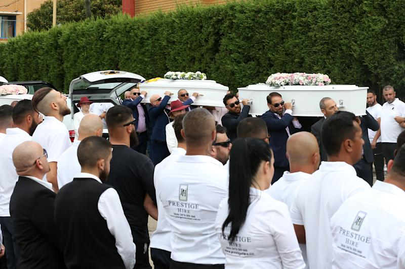 The coffins of Anthony, 13, Angelina, 12 and eight-year-old Sienna Abdallah are seen arriving for their funeral at Our Lady of Lebanon Co-Cathedral on Monday. Source: AAP/Danny Casey