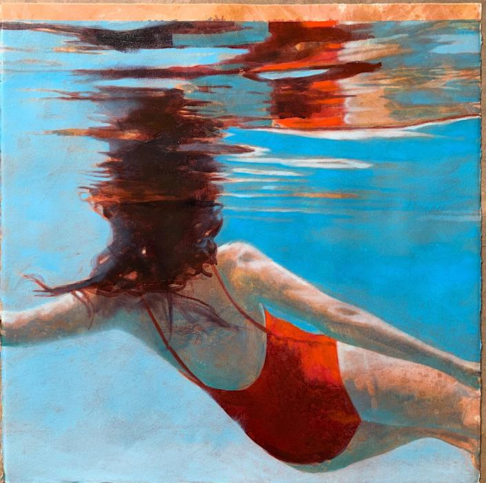 """A mixed media piece of artwork by Hawaii-based artist Carol Bennett, shown in the """"Dive In 2020"""" exhibition in Riverdale, New York."""