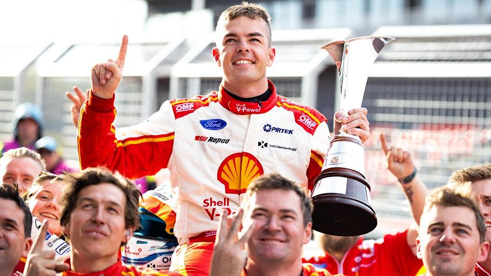 Scott McLaughlin, pictured here celebrating winning the 2020 Supercars championship after the Bathurst 1000.