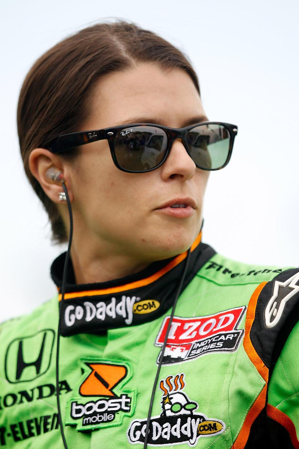 <p>Look back at almost any photo of Danica Patrick competing, and you'll find her in her Ray-Bans. Here she was in the classic sunglasses waiting to qualify for the IndyCar Series. She'd then go on to become the first and only woman to win an IndyCar series race during the Indy Japan 300.</p>