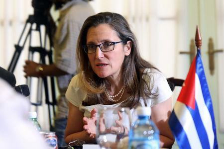 Canada's Foreign Minister Chrystia Freeland speaks with Cuba's Foreign Minister Bruno Rodriguez in Havana