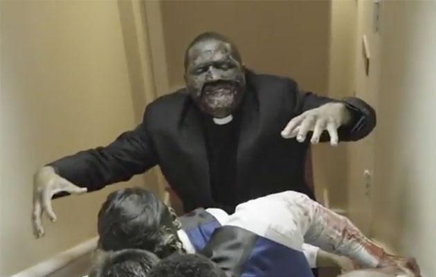 The priest even dresses up. Photo: YouTube