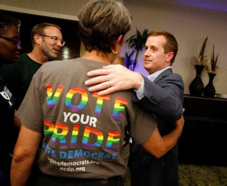 Dan McCready speaks with supporters after his election loss in Charlotte, North Carolina