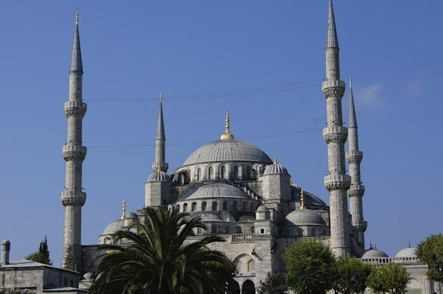 The most famous mosque of turkish city Instanbul - Blue mosque in Sultanakhmet area
