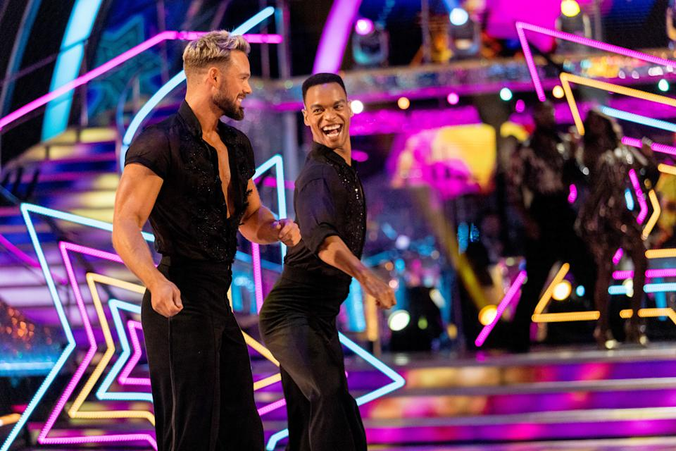 Programme Name: Strictly Come Dancing 2021 - TX: 18/09/2021 - Episode: Strictly Come Dancing - Launch Show (No. n/a) - Picture Shows:  John Whaite, Johannes Radebe - (C) BBC - Photographer: Guy Levy