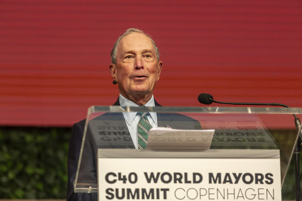 COPENHAGEN, DENMARK OCTOBER 10: Mayor of New York City and President of the C40 Board, Michael Bloomberg, during the C40 World Mayors Summit hand over of the chair on October 10, 2019 in Copenhagen, Denmark. More than 70 mayors of some of the worlds largest and most influential cities representing some 700 million people meet in Copenhagen from October 9-12 for the C40 World Mayors Summit, with the purpose to build a global coalition of leading cities, businesses and citizens that rallies around radical and ambitious climate action. (Photo by Ole Jensen/Getty Images)