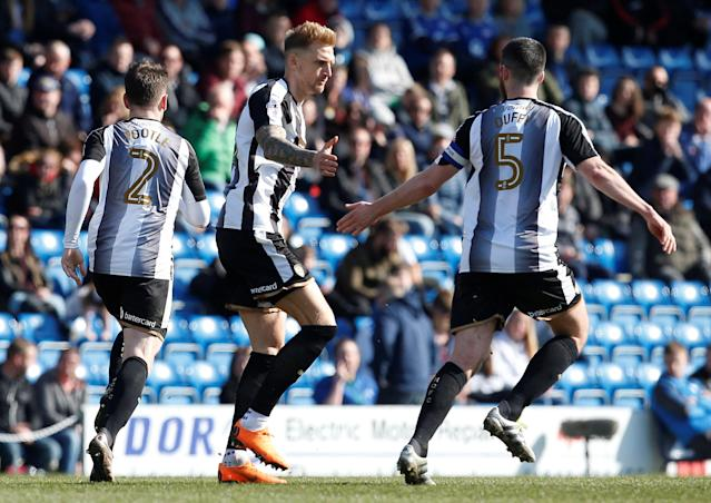 "Soccer Football - League Two - Chesterfield vs Notts County - Proact Stadium, Chesterfield, Britain - March 25, 2018 Notts County's Dan Jones celebrates after he scores his sides first goal Action Images/Craig Brough EDITORIAL USE ONLY. No use with unauthorized audio, video, data, fixture lists, club/league logos or ""live"" services. Online in-match use limited to 75 images, no video emulation. No use in betting, games or single club/league/player publications. Please contact your account representative for further details."