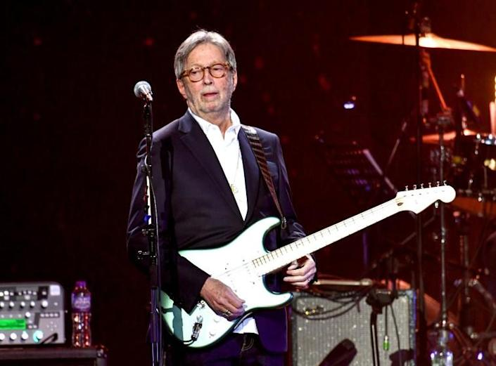 Eric Clapton performs on stage during Music For The Marsden 2020 at The O2 Arena in London.