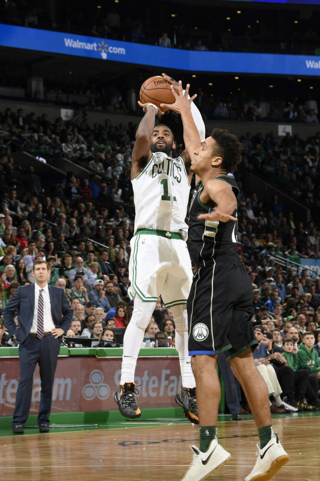 BOSTON, MA - NOVEMBER 1: Kyrie Irving #11 of the Boston Celtics shoots the ball against the Milwaukee Bucks on November 1, 2018 at the TD Garden in Boston, Massachusetts. (Photo by Brian Babineau/NBAE via Getty Images)