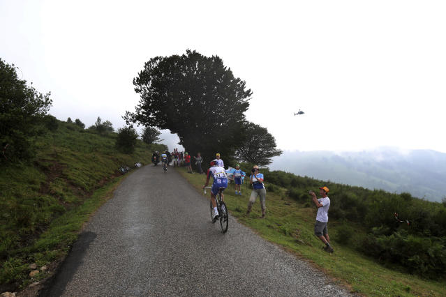 France's Thibaut Pinot climbs Prat d'Albis during the fifteenth stage of the Tour de France cycling race over 185 kilometers (114,95 miles) with start in Limoux and finish in Prat d'Albis, France, Sunday, July 21, 2019. (AP Photo/Thibault Camus)