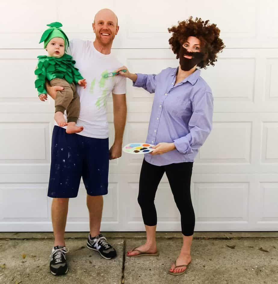 """<p>You'll be putting out nothing but good vibes this Halloween when you dress up as the iconic celebrity painter Bob Ross. Make it a family costume by dressing your little one up as one of Bob's famous """"happy little trees."""" </p><p><strong>See more at <a href=""""https://www.charlestoncrafted.com/how-to-make-a-family-bob-ross-costume/"""" rel=""""nofollow noopener"""" target=""""_blank"""" data-ylk=""""slk:Charleston Crafted"""" class=""""link rapid-noclick-resp"""">Charleston Crafted</a>. </strong></p><p><a class=""""link rapid-noclick-resp"""" href=""""https://go.redirectingat.com?id=74968X1596630&url=https%3A%2F%2Fwww.walmart.com%2Fip%2FHigh-Quality-Acrylic-Felt-by-the-Yard-72-Wide-X-1-YD-Long-Kelly-Green%2F434758303&sref=https%3A%2F%2Fwww.thepioneerwoman.com%2Fholidays-celebrations%2Fg32645069%2F80s-halloween-costumes%2F"""" rel=""""nofollow noopener"""" target=""""_blank"""" data-ylk=""""slk:SHOP GREEN FELT"""">SHOP GREEN FELT</a></p>"""