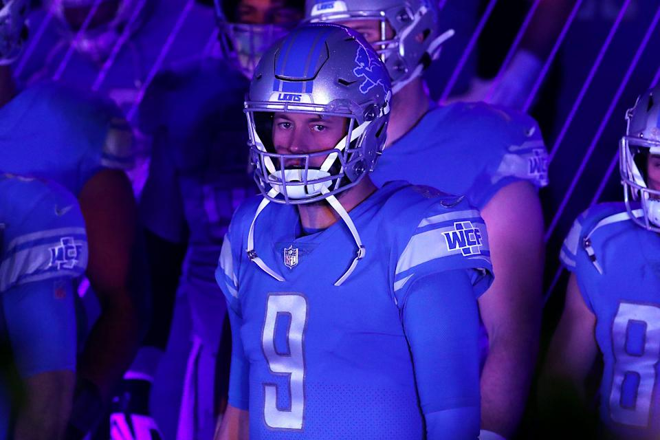 Detroit Lions' Matthew Stafford in the tunnel, prepares to take the field before the game against the Green Bay Packers at Ford Field, Dec. 13, 2020.