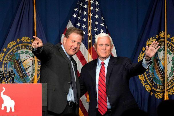 PHOTO: Former Vice President Mike Pence, right, waves as N.H. Gov. Chris Sununu introduces him at the annual Hillsborough County NH GOP Lincoln-Reagan Dinner, Thursday, June 3, 2021, in Manchester, N.H. (Elise Amendola/AP)