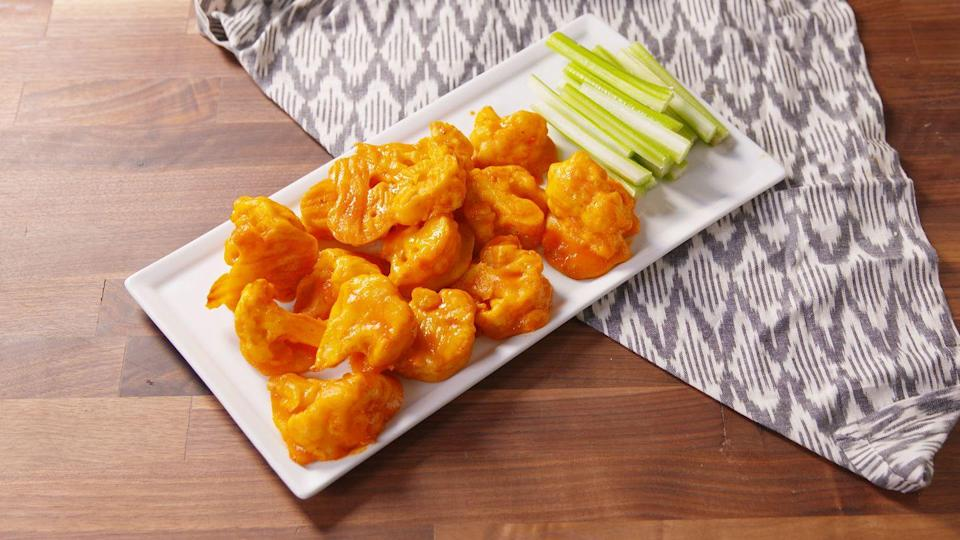"<p>Vegetarians—your life is about to get a billion times better.</p><p>Get the recipe from <a href=""https://www.delish.com/cooking/recipe-ideas/recipes/a49855/cauliflower-wings-recipe/"" rel=""nofollow noopener"" target=""_blank"" data-ylk=""slk:Delish"" class=""link rapid-noclick-resp"">Delish</a>.</p>"