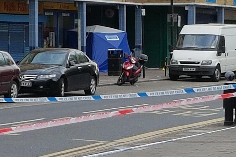 Murder scene: A 21-year-old man was stabbed to death at an off licence in Freemasons Road, Canning Town: Twitter/@Holly_chestie