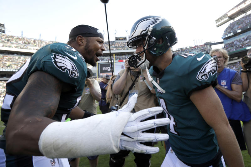 Philadelphia Eagles' Najee Goode, left, and Jake Elliott celebrate an Eagles win in September. (AP)