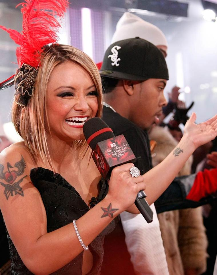 "On the other side of the country, reality TV star Tila Tequila hosted the MTV New Year's Eve Masquerade party from the cable network's Times Square studios. Jemal Countess/<a href=""http://www.wireimage.com"" target=""new"">WireImage.com</a> - December 31, 2007"