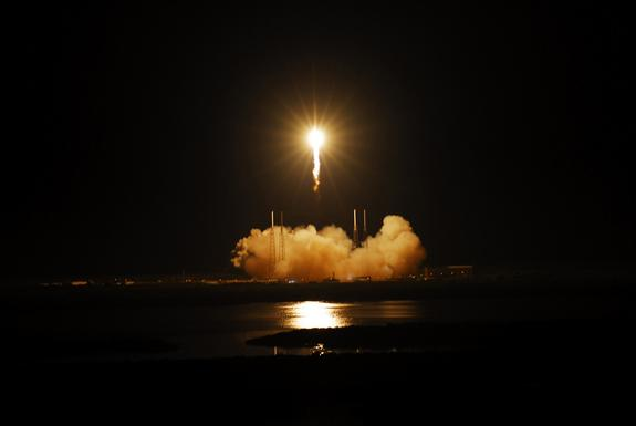 The SpaceX Falcon 9 rocket soars into space from Space Launch Complex-40 on Cape Canaveral Air Force Station in Florida at 3:44 a.m. EDT on May 22, 2012, carrying the Dragon capsule to orbit.