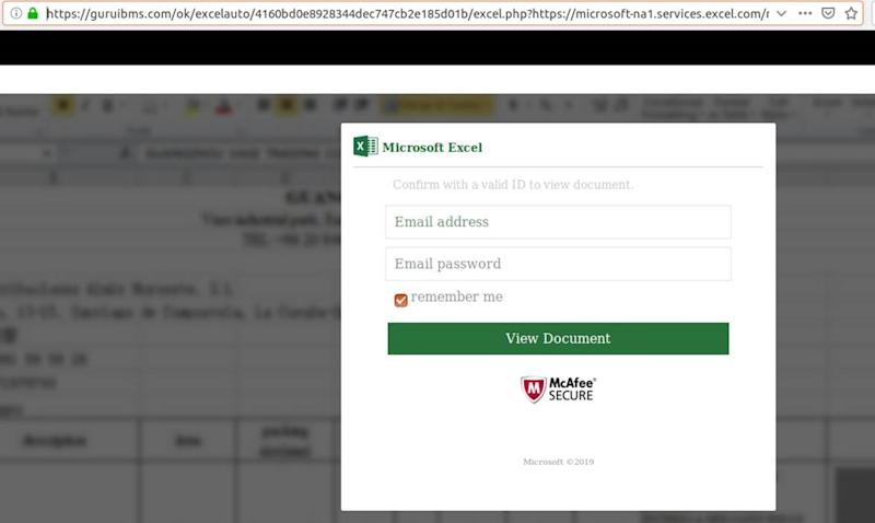 The fake Microsoft Excel log-in window. (Source; MailGuard)