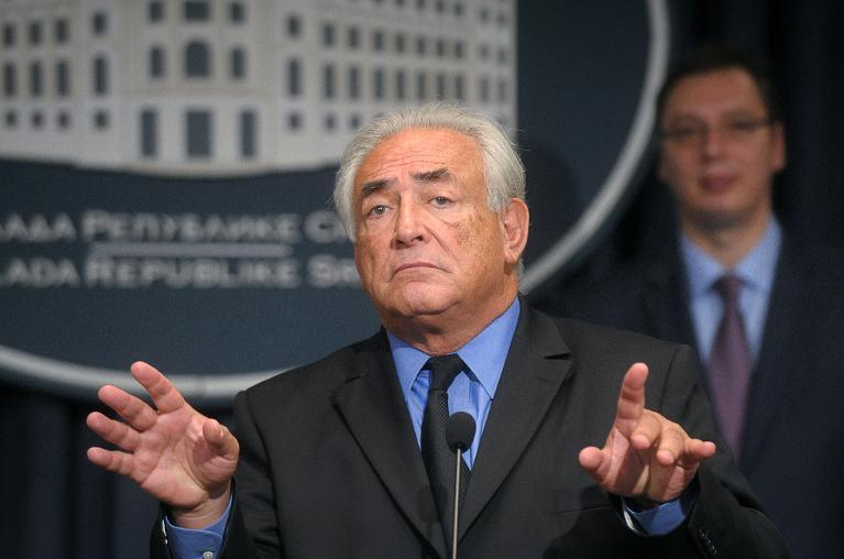 Dominique Strauss-Kahn at a news conference in Belgrade on September 17, 2013 after agreeing to advise the Serbian government