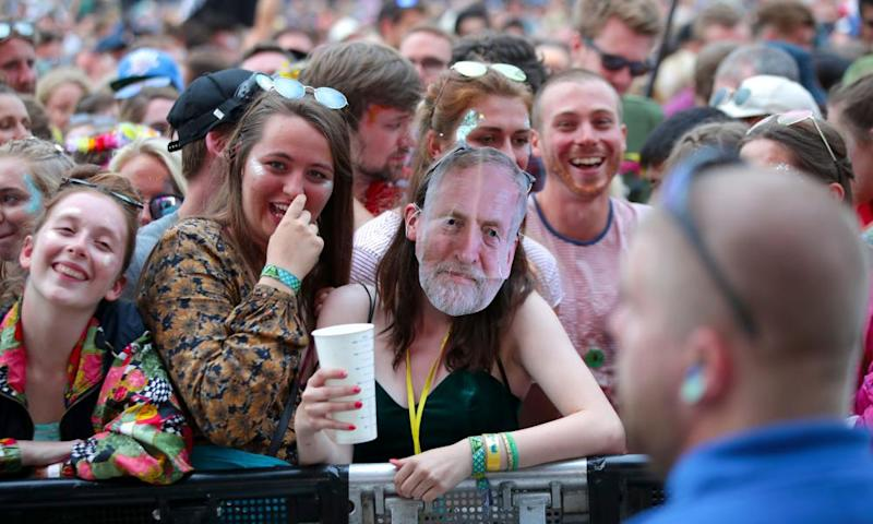 A Jeremy Corbyn fan at Glastonbury 2017.