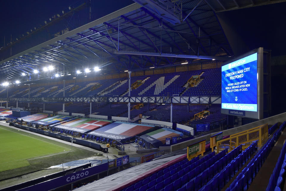 Premier League games are being postponed due to COVID-19 outbreaks, but the league and soccer as a whole refuse to stop. (Photo by Tony McArdle/Everton FC via Getty Images)