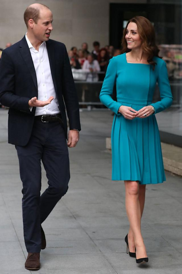 "<p><strong>14 November</strong> The Duchess of Cambridge wore a pleated <a rel=""nofollow"" href=""https://www.net-a-porter.com/gb/en/Shop/Search?designerFilter=1620&keywords=emilia%20wickstead&dScroll=NaN"">Emilia Wickstead</a> dress and black suede courts to visit <em>The One Show</em> in London with Prince William.</p>"