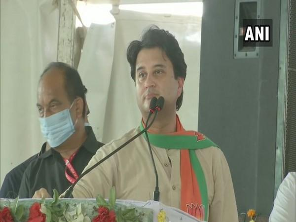 BJP leader Jyotiraditya Scindia speaking in an event in Madhya Pradesh on Saturday. Photo/ANI