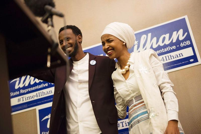 From left: Ahmed Hirisi and Minnesota Rep. Ilhan Omar in 2016 | STEPHEN MATUREN/AFP/Getty