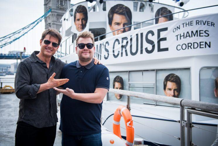 Tom Cruise with James Corden in London for <em>The Late Late Show with James Corden </em> (Photo: Craig Sugden/CBS)