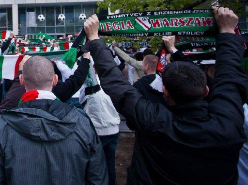 Fans of Legia Warsaw in Warsaw