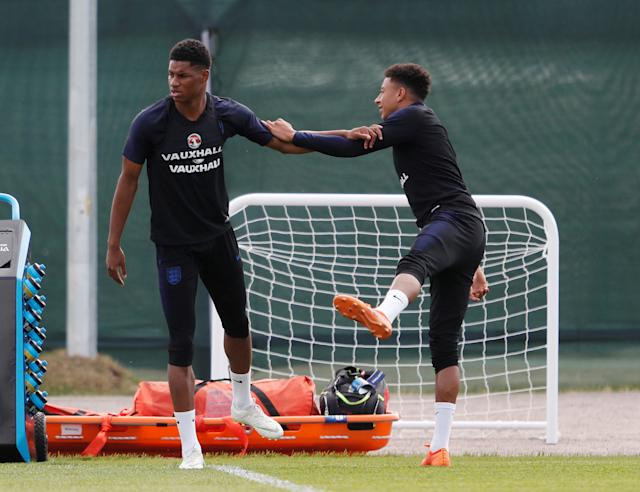 Soccer Football - World Cup - England Training - England Training Camp, Saint Petersburg, Russia - June 17, 2018 England's Marcus Rashford and Jesse Lingard during training REUTERS/Lee Smith