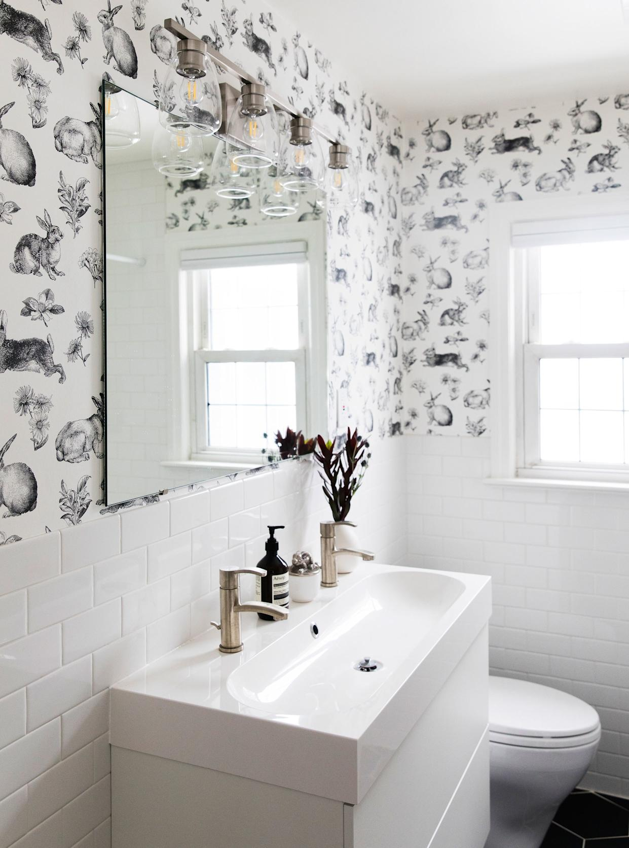 """<div class=""""caption""""> After: A double sink in the bathroom makes for extra storage in the vanity. </div> <cite class=""""credit"""">Photo: Jillian Guyette</cite>"""
