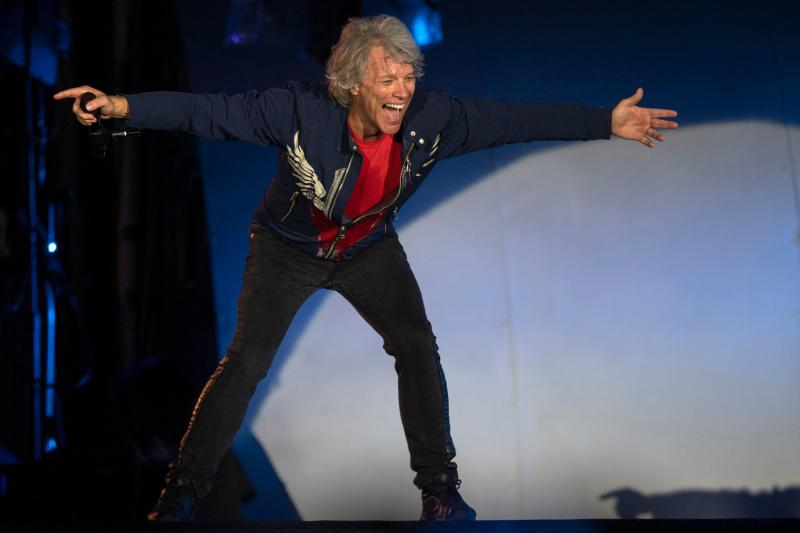 US singer Jon Bon Jovi performs with the rock band Bon Jovi during Rock in Rio festival at the Olympic Park, Rio de Janeiro, Brazil, on September 29, 2019. - The week-long Rock in Rio festival started September 27, with international stars as headliners, over 700,000 spectators and social actions including the preservation of the Amazon. (Photo by MAURO PIMENTEL / AFP) (Photo credit should read MAURO PIMENTEL/AFP via Getty Images)