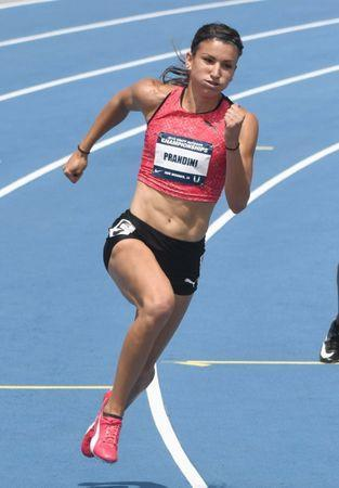 Jun 24, 2018; Des Moines, IA, USA; Jenna Prandini wins women's 200m semifinal in 22.22 during the USA Championships at Drake Stadium. Mandatory Credit: Kirby Lee-USA TODAY Sports