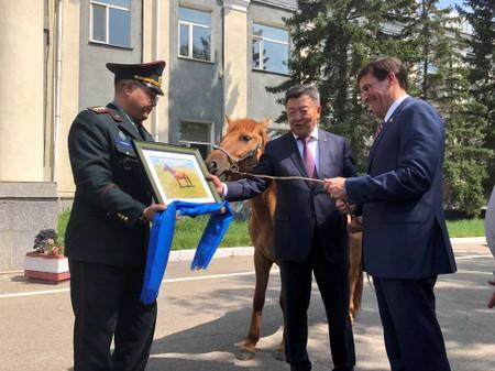 U.S. Secretary of Defense Mark Esper is gifted a horse in Ulan Bator, Mongolia