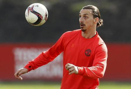 Manchester United's Zlatan Ibrahimovic during training